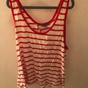 Red & white striped crop tank